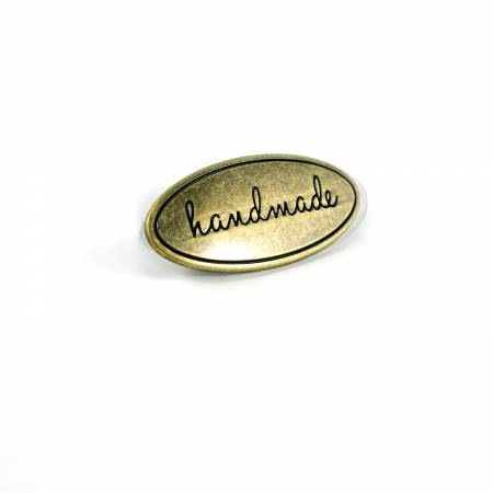 Metal Bag Label Oval Handmade In Antique Brass