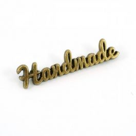 Metal Bag Label – Script Handmade in Antique Brass