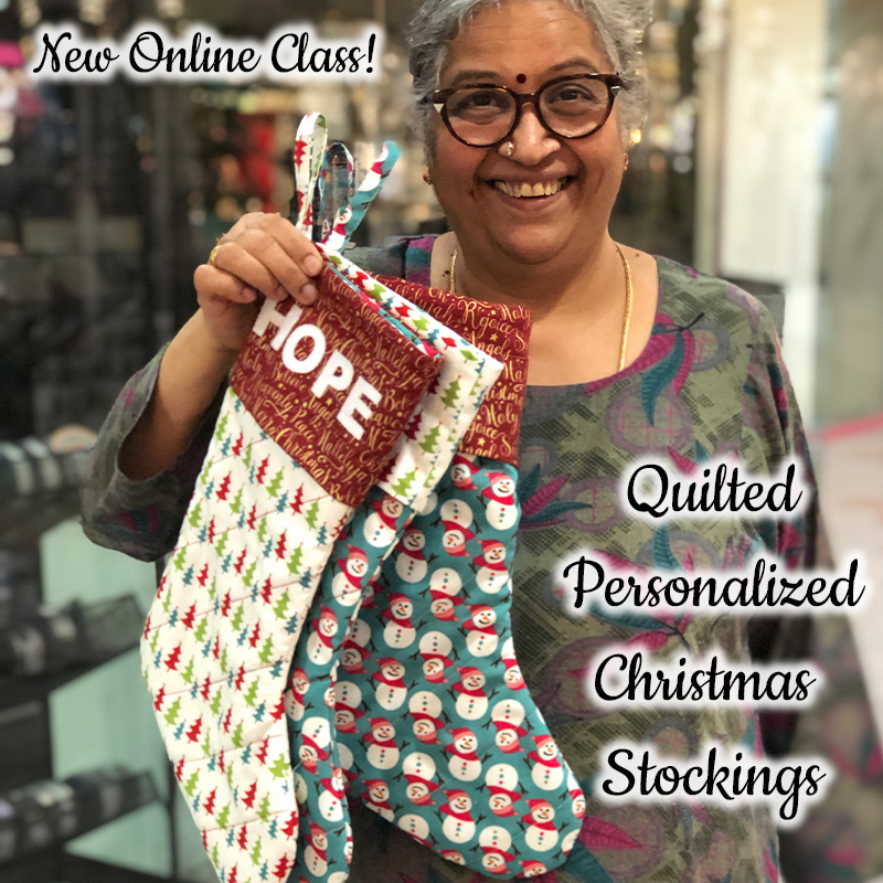 DIY Personalized and Quilted Christmas Stocking- Online Class Only