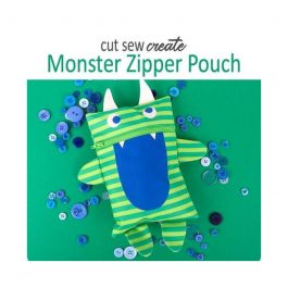 Moda- Monster Zipper Pouch Panel